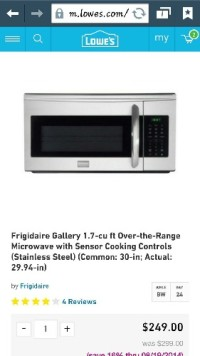 Frigidaire microwave, It's Frigidaire Microwave 1.7 cuft over the range... stainless steel