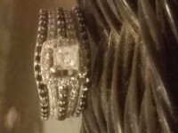 Diamond rings, 14k white gold, 1&1/4 ct princess cut black and white diamonds., 7/8 ct. In main ring 1/3 in others.