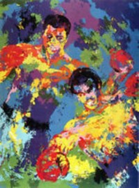 Ali Foreman Zaire serigraph by Leroy Neiman, Leroy Neiman signed serigraph. It is an artist proof. Size is 24x32in.