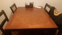 diningroom table, Black and brown matching dining set 4 chairs tall table and chairs