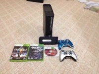 Xbox 360 , Xbox 360 console. 120 gb memory. 3 games. 2 controllers. Pls give more than 150$