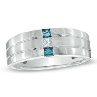 1/4 ct TW 10K white gold diamond ring, Three diamond ring, 2 blue one clear, 1/4 ct TW. Size 11 men's 10K white gold band.