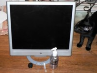 hp monitor , hp vs15flat panel  grey connecting cords included