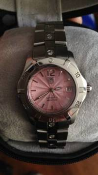 TAG HEUER AQUARACER AUTOMATIC WN2310-0, Authentic Ladies TAG HEUER AQUARACER AUTOMATIC WN2310-0 Pink guilloche dial with 1ct of diamonds around the band, Like New