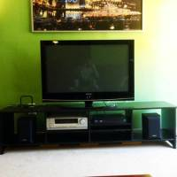 """complete entertainment center, Samsung 42"""" 720p with remote. Onkyo HD component receiver and Sony speakers.  Ikea entertainment center/tv stand, Gently Used"""