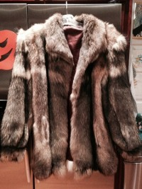 Mens Real Coyote Fur stroller, Mens black tip and brown real Coyote fur stroller Mens size Medium or women's lg