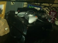 xbox 360, Xbox 360 black with all cables and power cord 2 controllers one lights up blue 3 games in excellent condition