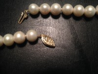 Pearl necklace , 55 pearl necklace with 14ct gold clasp