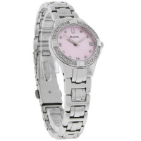 womens Bulova watch, Womens Bulova watch with pink face and diamond accented dial, in original box