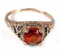 1.25ct Natural Ruby 18k Rose Gold Filigree Ring, This exquisite size 6.5 ring has a deep, beautiful rose-toned hue. 18k gold is masterfully crafted into an intricate open filigree which perfectly frames a stunning 1.25ct natural ruby. , Like new