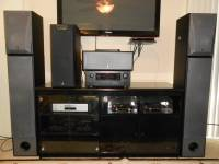 VERY NICE YAMAHA AND DENON SYSTEM, THE MAINS ARE NS-200XT DUAL 8'' TOWERS THE BOOKSHELF SPEAKERS ARE 3 WAY NS-6390 THE CENTER IS A NS-AC40X AND THE SUB IS A YAMAHA YST-SW160 , Like new