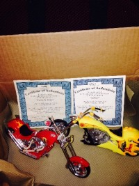 2 scale size motorcycles with fire dept. Features , 2 motorcycles with Fire dept, features, had them as a collectors item. Comes with certificate of authenticity, bought them From Bradford Exchange.