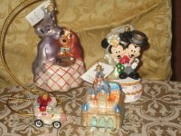 Christopher Radko Disney ornaments, Rare lady and tramp, blue castle, just married  and wedding cake Christopher Radko Disney ornaments.