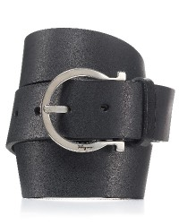 "mens ""fisse"" ferragamo belt (retail $280), Men's new with tags black Salvatore Ferragamo leather ""fisse"" gancini belt, listed on bloomingdale's website for $280."