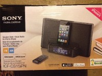 Sony Dream Machine, Sony Dream Machine; Personal Audio System ICF-CS15iPN Speaker Dock for iPhone 5; AM/FM Clock Radio for iPod and iPhone; MEGA Bass and MEGA Xpand for full, clear sound quality; Automatic Time Set/Daylight savings Time Set; Wireless Remote control; 30 Station presets buttons (20 FM & 10 AM); Date/Time Display; Dual alarm with 2-5-7 day alarm setting; Extendable Snooze; Brightness control; Sleep timer; Flex Dock Structure with lightning connector compatible with iPhone and iPod