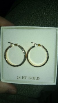 14k gold earrings, Style hoop color gold