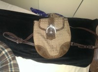 coach backpack purse, Other, Brown coach backpack purse with dark brown suede bottom and top and leather straps with coach logo as the main part of the backpack. Almost new condition and only used on occasion. No damages to it.