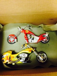 2 small size motorcycles with fire dept. Features , Other, 2 small size motorcycles with fire department features, one is red , the other is yellow.both come with certificate of authenticity.