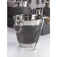 WOVEN CANE WINE CHILLER, Other, Chilled champagne never looked so good! This gorgeous nickel and cane wine chiller bucket has two oversize ring handles on either side, and comes with matching ice tongs.