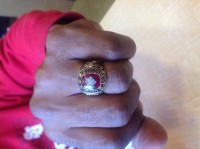 Ring, Jewelry, Weight 18.30 grams 10kt ruby diamond, 10 kt gold ring with diamond inside of ruby