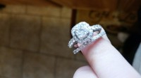 Diamond wedding set, Jewelry, 14 white gold, 1 CT tw, A wedding set, with engagement ring And wedding band. Great condition, except for one small diamond missing from the band
