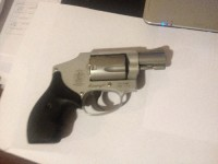 38 Caliber Smith & Wesson Revolver, Gun, Inside pants Holster (wore), , Smith & Wesson .38 S&W SPL, +P Airweight. Snub nose. Model CHR4119