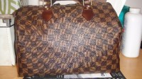 LV Speedy Handbag, Other, Louis Vuitton Speedy Brown Tote Bag, this bag has a little broken on the corner of the bottom. 