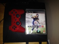 Playstation 3 w/controller and madden 15, Electronics, sony playstation3 slim 160gb, 160gb slim version with red dualshock controller and madden15