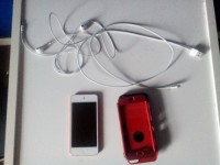 ipod touch 5th generation, Electronics, apple. A1421, It has a tiny bruise in the corner but it's not noticeable. Screen is 4 inches and it comes with usb charger, headphones and I have a case. The ipod is 32gb and is bright red