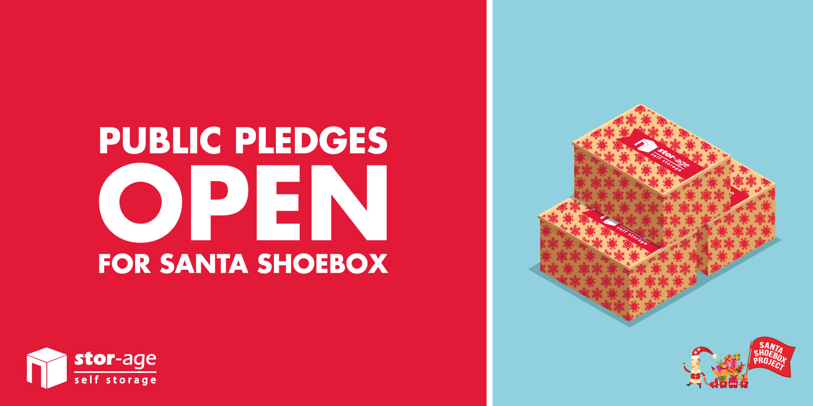 Public pledging official opens for the Santa Shoebox Project