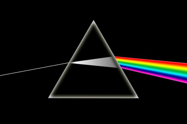 La pochette de l'album de l'album Dark side in the moon des Pink Floyd et la représentation de la dispersion en mécanique ondulatoire - Un exemple d'ordre dans le désordre