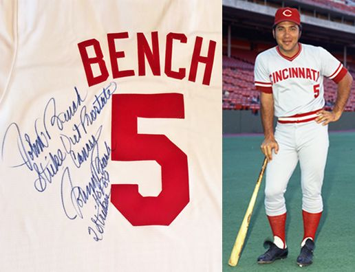 signed Johnny Bench Jersey