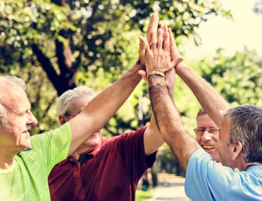 support group high fiving