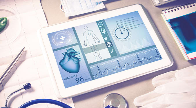 tablet with medical stats