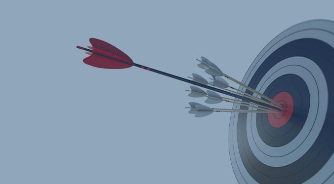 Arrows in a target bullseye