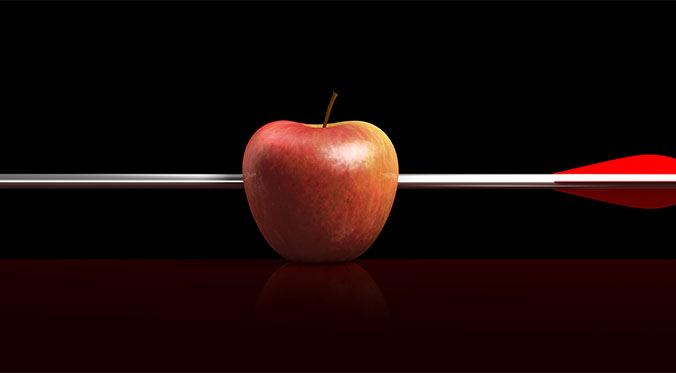 apple with arrow through it
