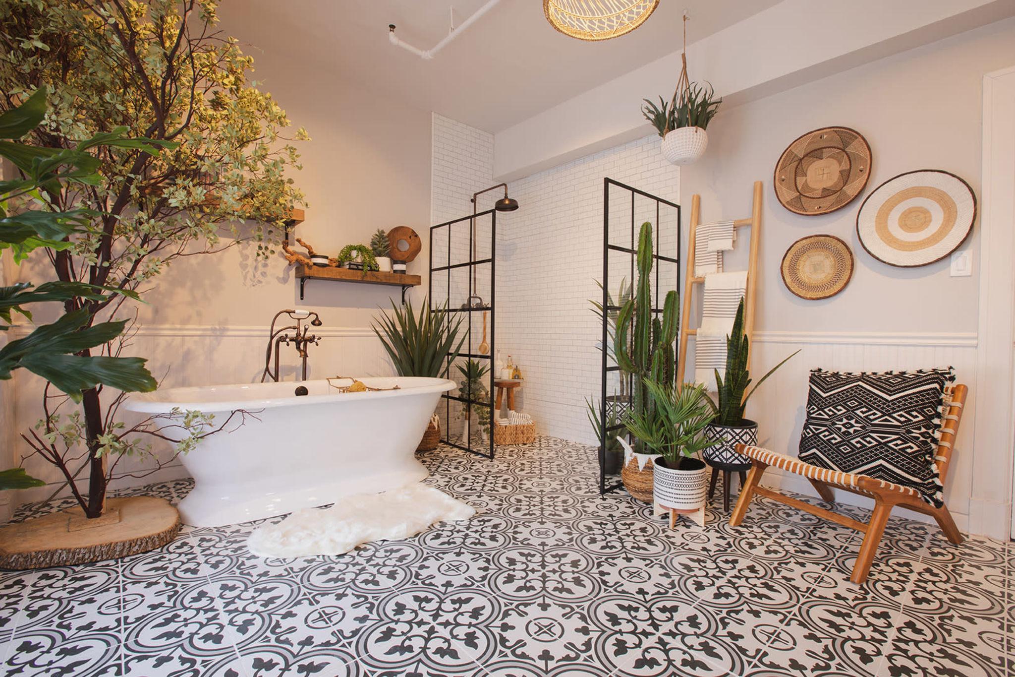 Downtown Farmhouse Bohemian Bathroom with Bathtub, Los Angeles, CA ...