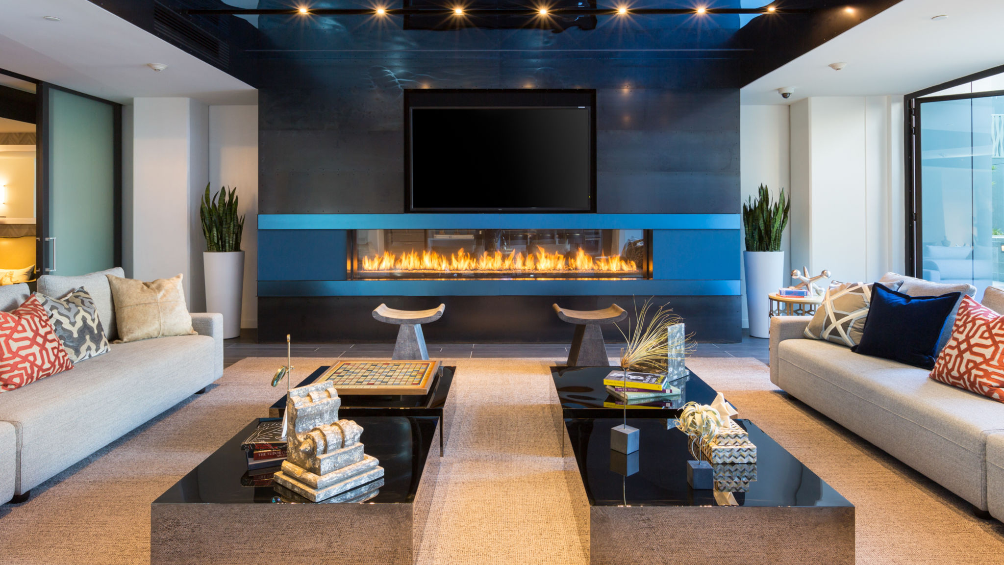 . Spacious  modern lounge with fireplace and attached kitchen
