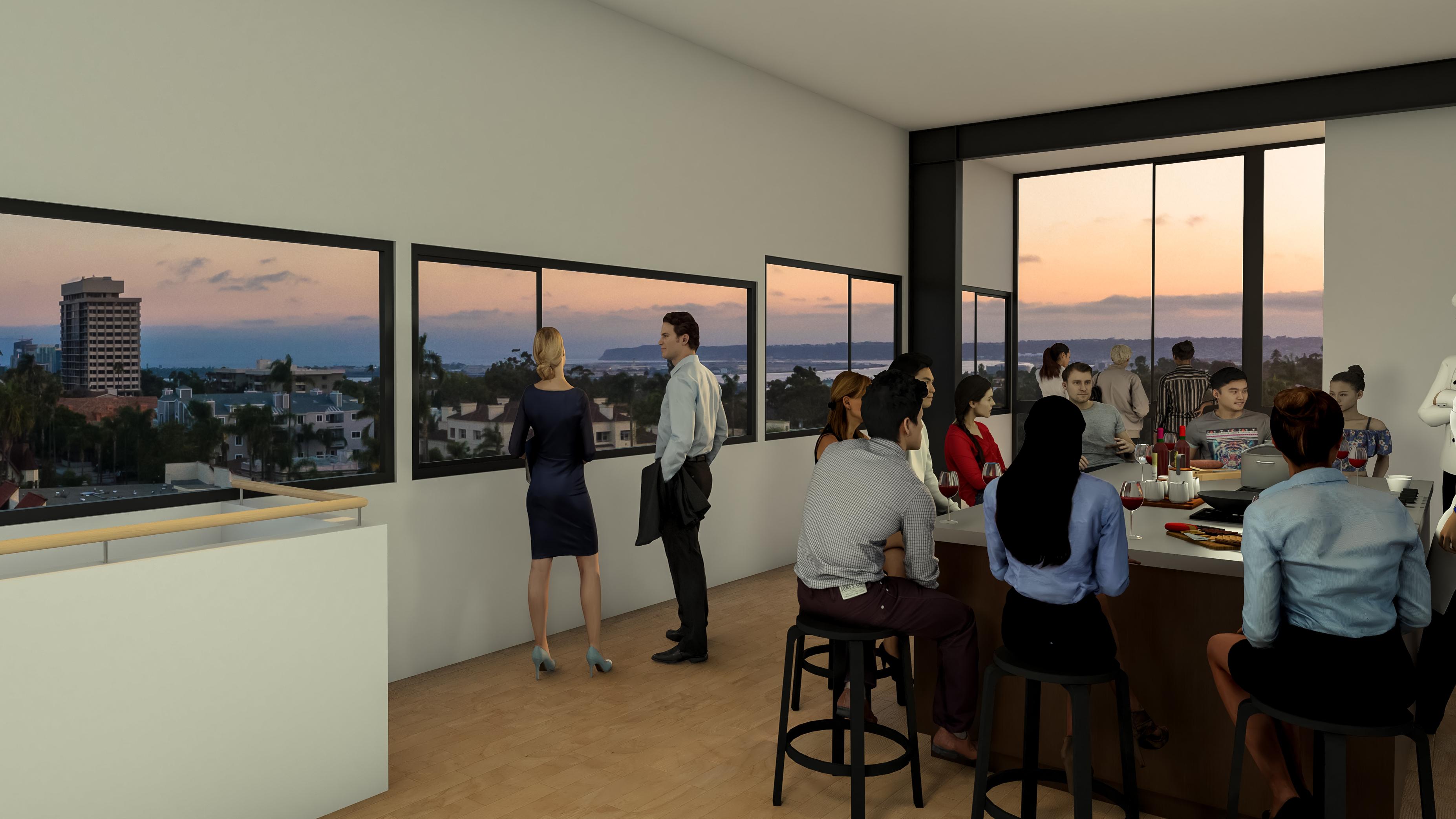 Modern Solarium Open Space Floor to Ceiling Windows Kitchen Top