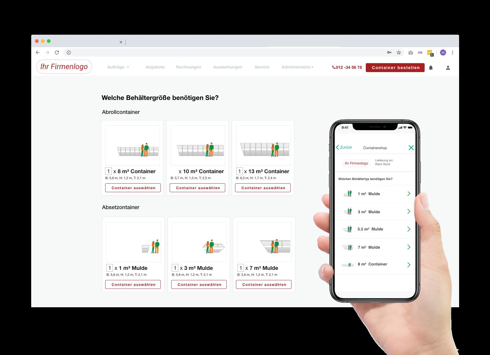 Online-Vertrieb Entsorger, Containershop für Gewerbekunden