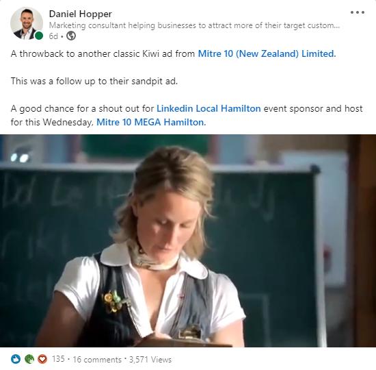 Daniel Hopper Linkedin content