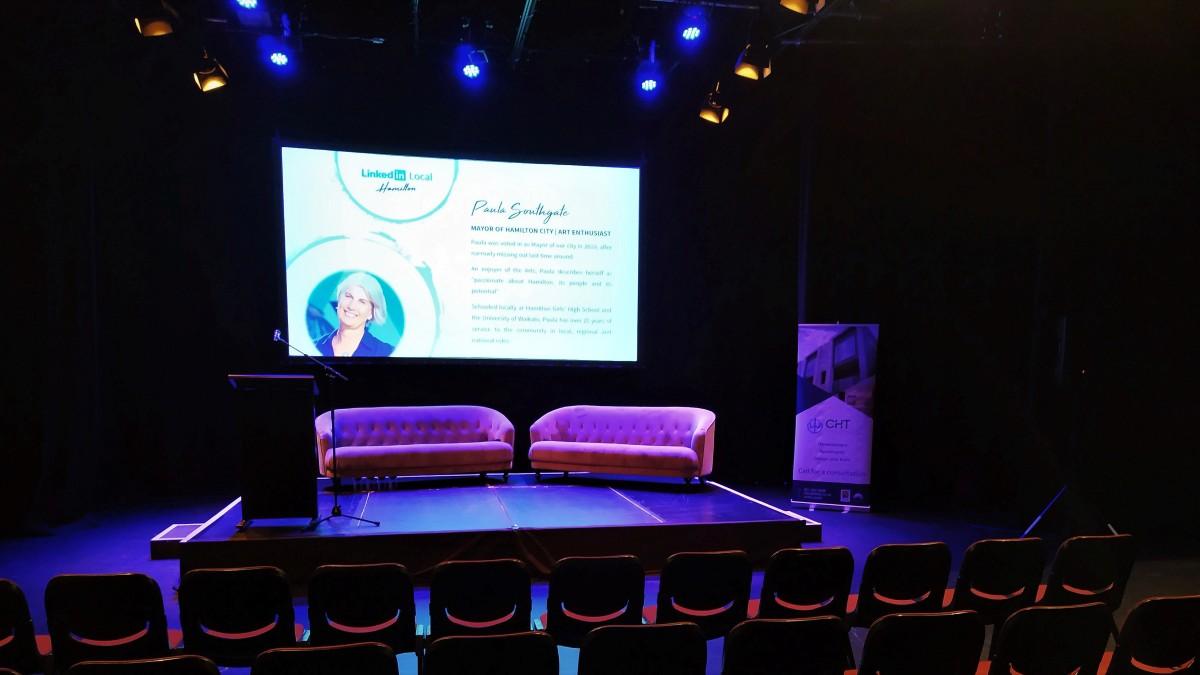 Stage at Linkedin local Hamilton event