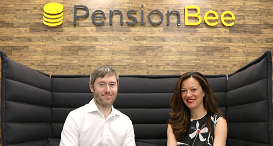 Jonathan and Romi sat in front of the PensionBee logo