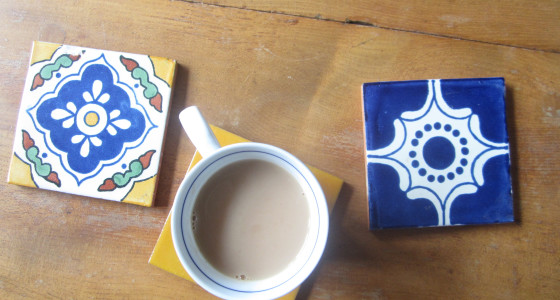 Tiles as coasters for an eclectic look