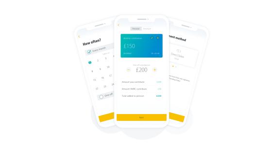Screenshots of PensionBee's contribution process