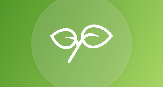 plant symbol in white against a green background