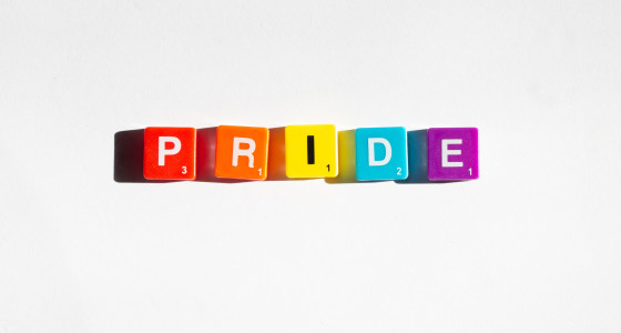pride spelt out on inidivual blocks in bright lgbt colours