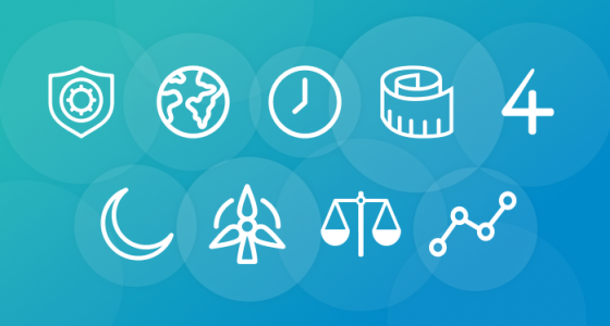 Blue background with nine icons drawn in a white outline