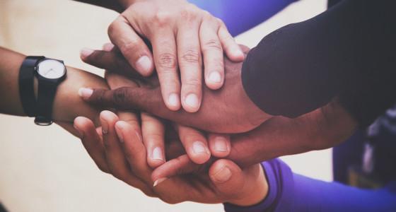diverse team touching hands
