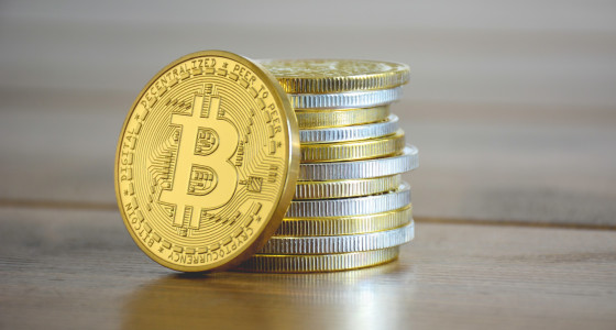 Bitcoin coins stacked on top of one another